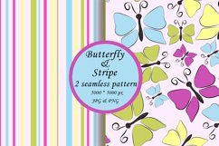 Butterfly seamless pattern, stripe digital paper Product Image 1
