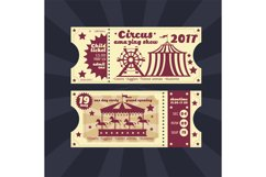 Vintage kids costume party invitation. Retro circus carnival Product Image 1