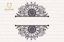 Sunflowers Split Border Monograms Set svg, floral monograms Product Image 2