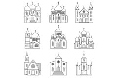 Church linear icons on white background Product Image 1