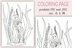 A4 Coloring Pages for Kids, Underwater Girl coloring page Product Image 1