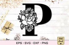 Floral letter P svg, Flower P monogram font initial SVG Product Image 1