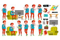 Teen Boy Poses Set Vector. Red Head. Fat Gamer. Fun Product Image 1
