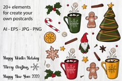 Happy winter holiday collection. Patterns,cliparts,postcards Product Image 4