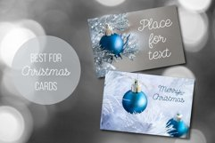 Blue ball on a silver and white Christmas tree Photo Set Product Image 4