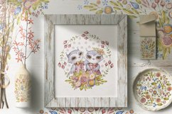 Cute owls clipart. Watercolor collection with floral forest Product Image 5