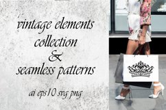 Vintage elements and seamless patterns. Crown and wreath Product Image 2