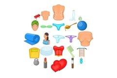 Ideal figure icons set, cartoon style Product Image 1
