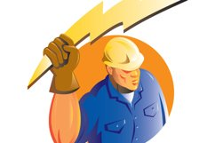 Construction worker electrician lightning bolt Product Image 1
