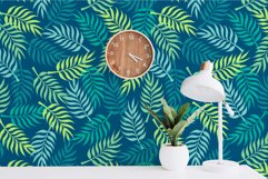 Palm tree leaves navy. Summer tropical seamless pattern. Product Image 4