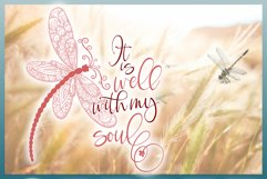 It Is Well With My Soul Quote with Dragonfly Mandala SVG Product Image 4