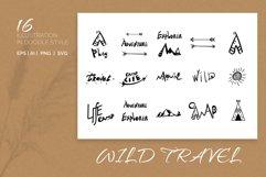 Wild. Travel. 16 Doodle style illustration. Product Image 1