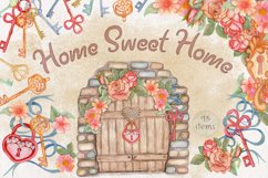 Home Sweet Home. Keys, floral watercolor wonderland collection Product Image 1