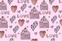 Watercolor set, patterns and tags for Valentine's Day. Product Image 6