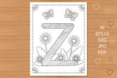 Letter Z. Flowers. Coloring page. Product Image 1