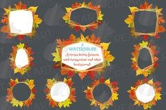 Fall leaves golden geometric frame templates. Autumn wedding Product Image 2