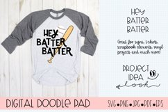 Baseball SVG | Hey Batter | Silhouette and Cricut Cut Files Product Image 1
