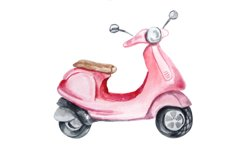 Watercolor Retro Red Moped Clipart Set Product Image 6