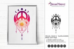 Crescent Moon and Sunflower SVG | Peace Sign SVG Product Image 1