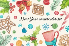 New year watercolor set, watercolor stickers happy new year Product Image 1