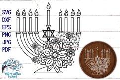Floral Menorah SVG | Hanukkah SVG Cut File Product Image 1