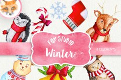 Cute Watercolor characters clipart, Christmas Clipart Product Image 1