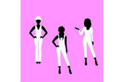 Fashion woman model in suit silhouettes Product Image 1