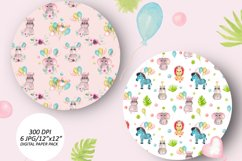 Baby animals birthday seamless pattern. African friends set Product Image 6