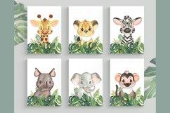 Set of 6 Safari Animal. Nursery Wall Decor. Tropical Prints. Product Image 1