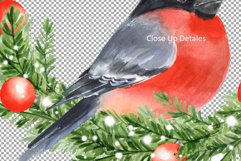 Christmas wreath with bullfinch. Watercolor Product Image 2