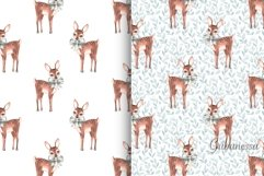 Set of 5 cute watercolor patterns with fawns Product Image 2
