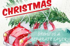 Cute Retro Car with Christmas Tree, Hand painted Watercolor Product Image 1