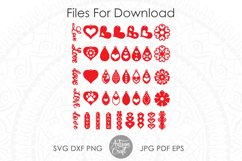 Heart earrings SVG, Valentines earrings, SVG cut files Product Image 2