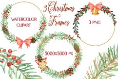 Christmas Watercolor Gold Frames Clipart Product Image 1