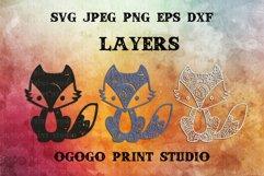 Fox Svg - 3D Layered Mandala SVG cut file 3 layers Product Image 2