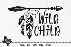 Wild Child SVG, Cut File, Tribal Arrow, Hippie Feathers Product Image 1
