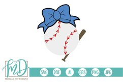 Baseball Sister - Biggest Fan - Baseball Bat Bow SVG Product Image 1