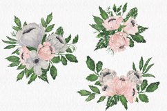 Gray and Pink Blooming. Watercolour clipart collection. Product Image 4