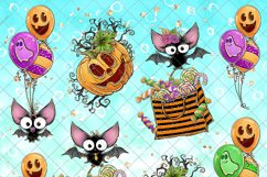 Cute Halloween Clipart, Bats Clip Art PNG Pack Product Image 3