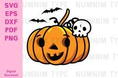 Halloween Pumpkin, Skull Bone and Bat SVG cut files Product Image 1