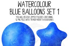 Blue Watercolor Balloon Clipart Set Product Image 3