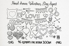 Hand drawn valentines black and white clipart set Product Image 1