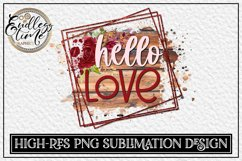 Hello Love   Wooden Floral Sublimation Design Product Image 1