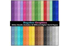 Glitter Digital Scrapbook Paper Bundle - 32 Digital 12x12 Product Image 1