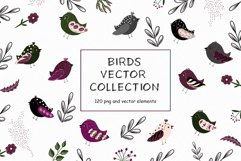 Birds vector collection, Spring Easter clipart, Summer leave Product Image 1