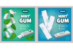 Gum chewing bubble banner set, realistic style Product Image 1