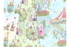 Circus digital paper, carneval paper pack, animal circus Product Image 2