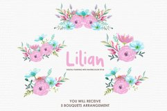 Lilian - Digital Watercolor Floral Flower Style Clipart Product Image 3