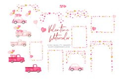 Pink and Gold Heart Balloon clipart, Valentine Clipart Product Image 2