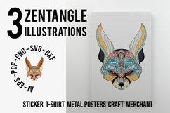 Zentangle Stylized Fennec Fox Head Product Image 1